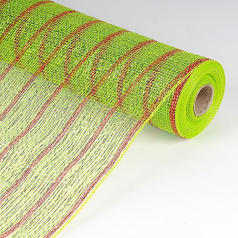 Holiday Floral Mesh Wraps Apple Green with Red Lines ( 21 Inch x 10 Yards ) -