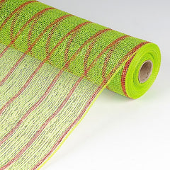 Holiday Floral Mesh Wraps Apple Green with Red Lines ( 21 Inch x 10 Yards )