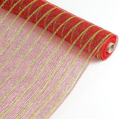 Holiday Floral Mesh Wraps Red with Apple Green Lines ( 21 Inch x 10 Yards )