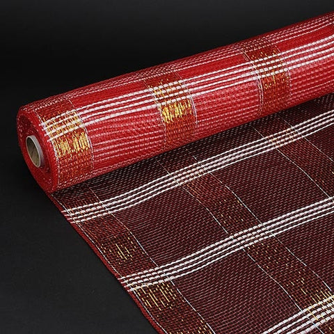 Deco Floral Mesh Check Metallic Stripe Red ( 21 Inch x 10 Yards ) -