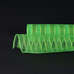 Apple Green Deco Mesh Eyelash Metallic Stripes