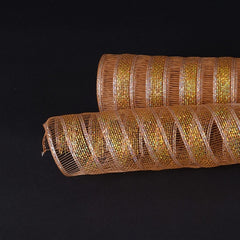 Brown Gold Deco Mesh Eyelash Metallic Stripes