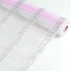 Poly Deco Xmas Check Mesh Metallic Stripe White with Pink ( 21 Inch x 10 Yards )