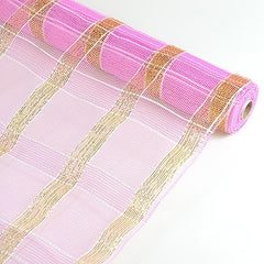 Poly Deco Xmas Check Mesh Metallic Stripe Pink with Gold ( 21 Inch x 10 Yards )