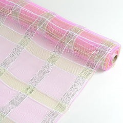 Poly Deco Xmas Check Mesh Metallic Stripe Pink with Silver ( 21 Inch x 10 Yards )