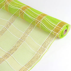 Poly Deco Xmas Check Mesh Metallic Stripe Apple Green with Gold ( 21 Inch x 10 Yards )
