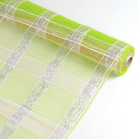Poly Deco Xmas Check Mesh Metallic Stripe Apple Green with Silver ( 21 Inch x 10 Yards ) -