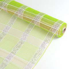 Poly Deco Xmas Check Mesh Metallic Stripe Apple Green with Silver ( 21 Inch x 10 Yards )
