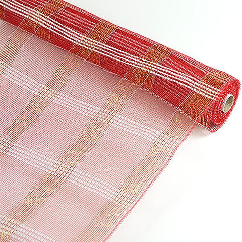 Poly Deco Xmas Check Mesh Metallic Stripe Red with Silver ( 21 Inch x 10 Yards ) -