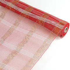 Poly Deco Xmas Check Mesh Metallic Stripe Red with Silver ( 21 Inch x 10 Yards )
