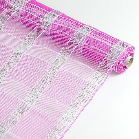 Poly Deco Xmas Check Mesh Metallic Stripe Fuchsia With Silver ( 21 Inch x 10 Yards ) -