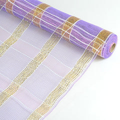 Poly Deco Xmas Check Mesh Metallic Stripe Lavender with Gold ( 21 Inch x 10 Yards )