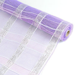 Poly Deco Xmas Check Mesh Metallic Stripe Lavender with Silver ( 21 Inch x 10 Yards )