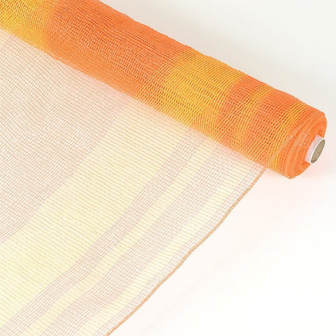 Deco Mesh Striped Design Orange ( 21 Inch x 10 Yards )