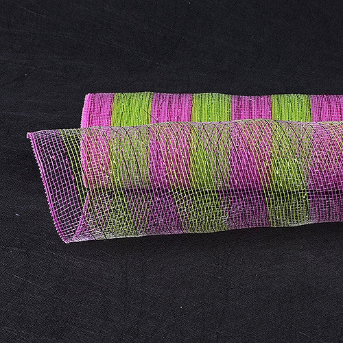 Poly Deco Mesh Wrap with Laser Mono Stripe Apple Green with Fuchsia ( 21 Inch x 10 Yards )