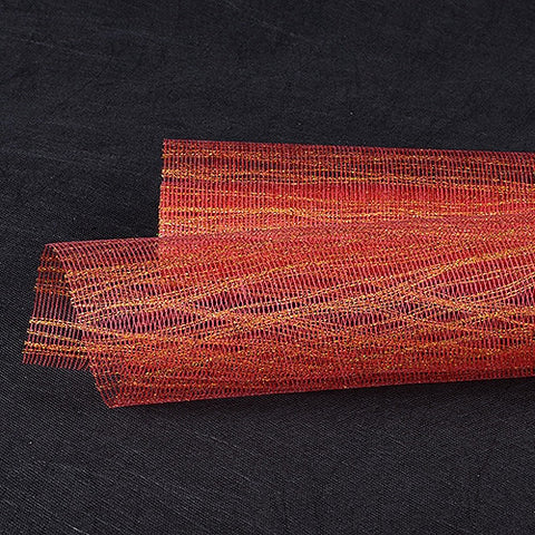 Metallic Thread Mesh Wrap Red Gold ( 21 Inch x 6 Yards ) -