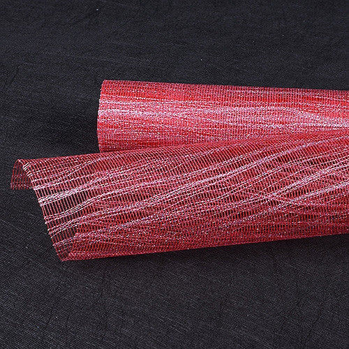 Metallic Thread Mesh Wrap Red with Silver ( 21 Inch x 6 Yards )