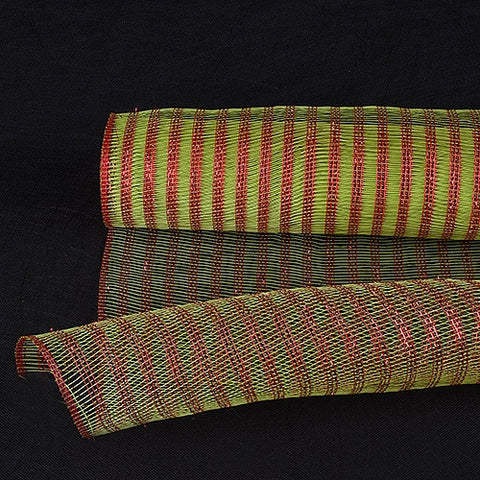 Metalic Line Mesh Apple Green with Red Lines ( 21 Inch x 10 Yards ) -