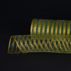 Metallic Line Mesh Wrap Moss with Gold ( 21 Inch x 10 Yards )