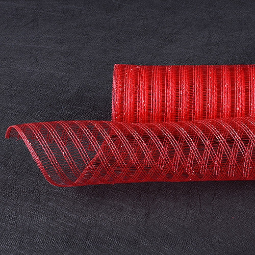 Metalic Line Mesh Red Red ( 21 Inch x 10 Yards )