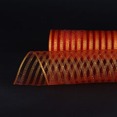 Metallic Line Mesh Wrap Red with Gold ( 21 Inch x 10 Yards )