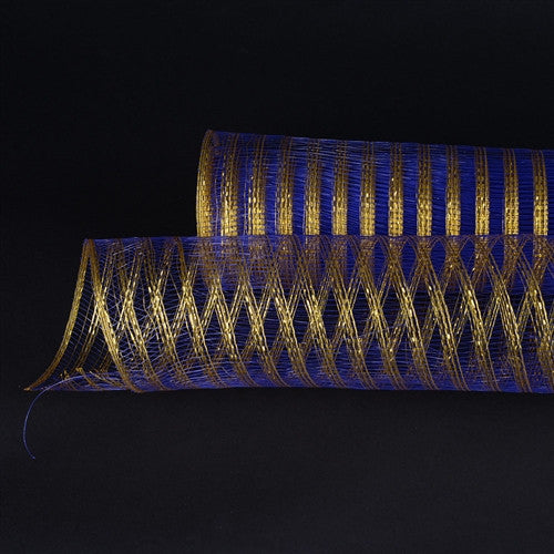Metallic Line Mesh Wrap Royal Blue with Gold ( 21 Inch x 10 Yards )