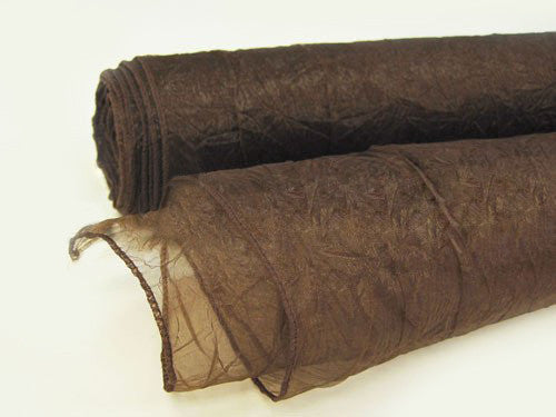 Premium Crinkle Organza Overlays Chocolate Brown ( W: 24 inch | L: 10 Yards )