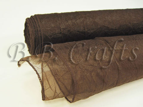 Chocolate  Premium Crinkle Organza Overlays  ( W: 24 inch | L: 10 Yards )