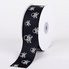 Grosgrain Ribbon Skull Design Black with Clear White Skull ( W: 3/8 inch | L: 25 Yards )