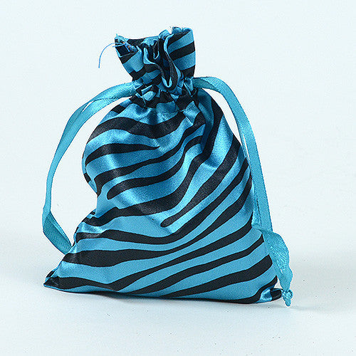 Animal Print Satin Bags Turquoise ( 3x4 Inch - 10 Bags )