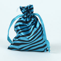Animal Print Satin Bags Turquoise ( 5x7 Inch - 10 Bags )