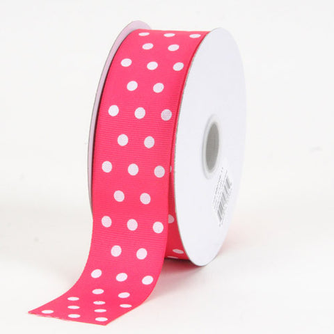 Grosgrain Ribbon Color Dots Fuchsia with White Dots ( W: 5/8 inch | L: 25 Yards ) -