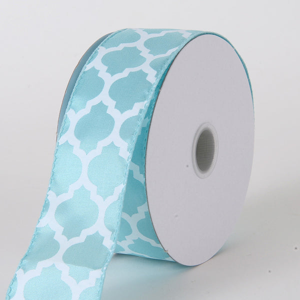 Satin Ribbon Large Quatrefoil Print Aqua Blue ( W: 1-1/2 inch | L: 10 Yards )