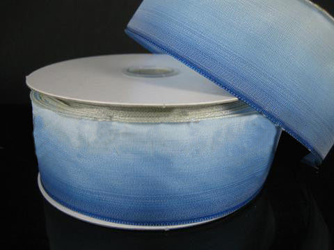 Ombre Ribbon Wired Edge Blue White ( W: 1-1/2 inch | L: 25 Yards )