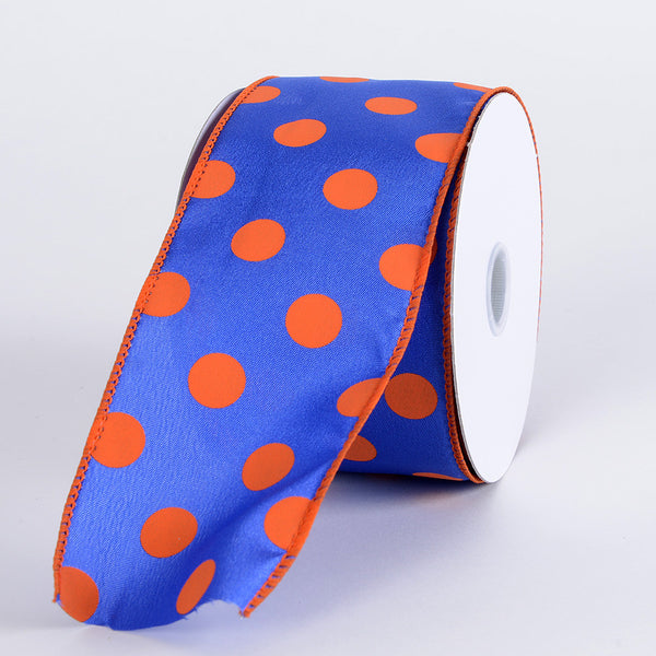 Satin Polka Dot Ribbon Wired Royal Blue with Orange Dots ( W: 2-1/2 inch | L: 10 Yards )