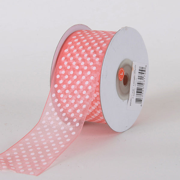 Organza Swiss Dots Ribbon Coral ( W: 3/8 inch | L: 25 Yards )