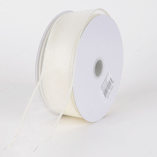 Organza Ribbon Thick Wire Edge 25 Yards Ivory ( W: 1-1/2 inch | L: 25 Yards )