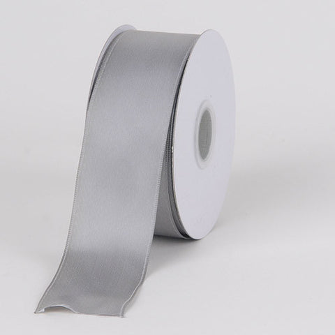 Satin Ribbon Wire Edge Silver ( W: 2-1/2 inch | L: 25 Yards ) -