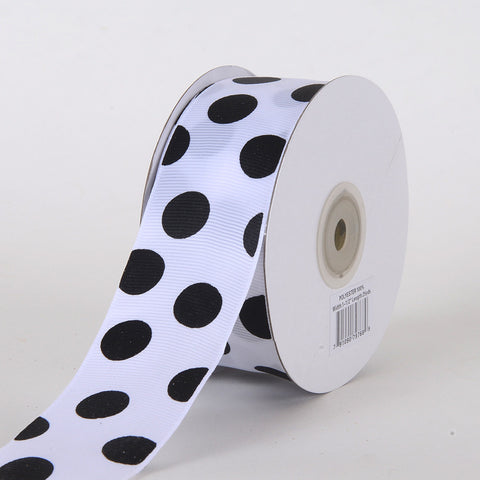 Grosgrain Ribbon Jumbo Dots White with Black Dot ( W: 1-1/2 inch | L: 25 Yards ) -