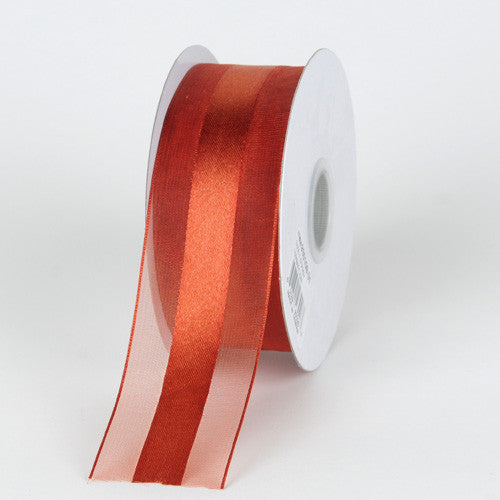 Organza Ribbon Satin Center Copper ( W: 5/8 inch | L: 25 Yards )