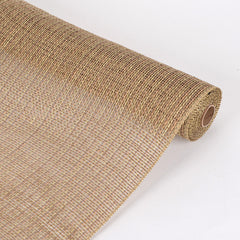 Faux Burlap Plaid Mesh Natural ( 21 inch x 5 Yards )
