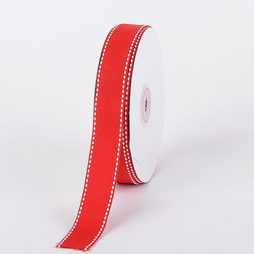 Grosgrain Ribbon Stitch Design Red ( W: 3/8 inch | L: 25 Yards )
