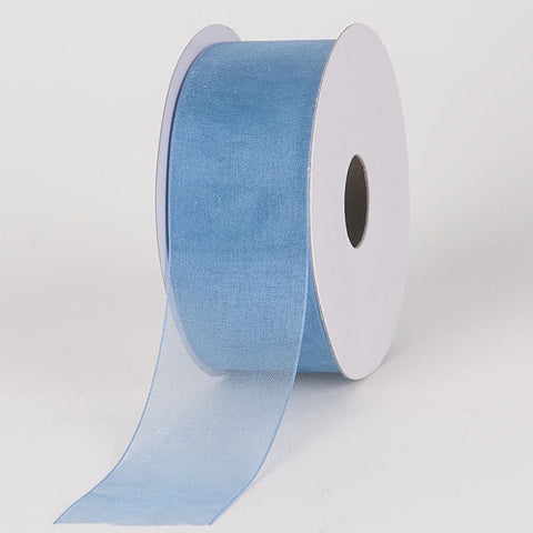 Sheer Organza Ribbon Smoke Blue ( 7/8 inch | 25 Yards ) -