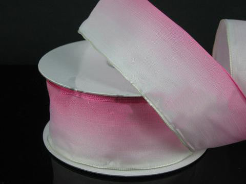 Ombre Ribbon Wired Edge Pink White ( W: 1-1/2 inch | L: 25 Yards )