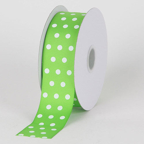 Grosgrain Ribbon Color Dots Apple Green with White Dots ( W: 5/8 inch | L: 25 Yards )