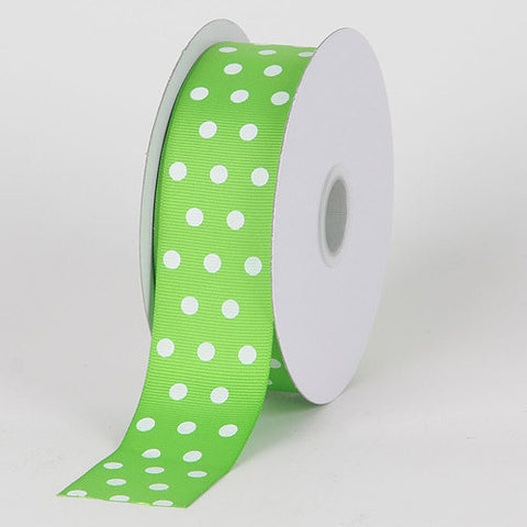 Grosgrain Ribbon Color Dots Apple Green with White Dots ( W: 5/8 inch | L: 25 Yards ) -
