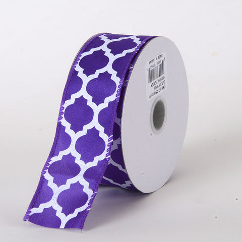 Satin Ribbon Large Quatrefoil Print Purple ( W: 1-1/2 inch | L: 10 Yards ) -