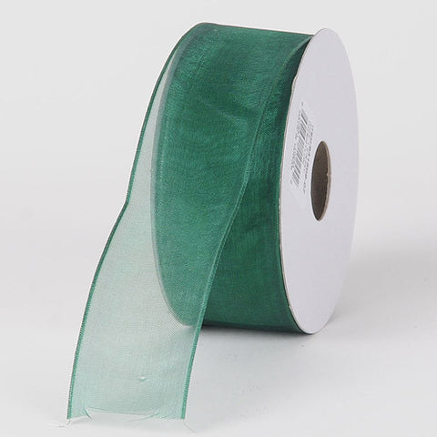 Organza Ribbon Thin Wire Edge 25 Yards Hunter Green ( 1-1/2 inch | 25 Yards )