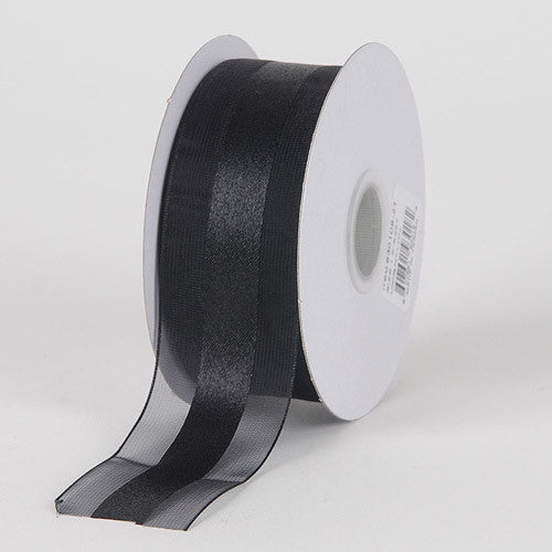 Organza Ribbon Satin Center Black ( W: 5/8 inch | L: 25 Yards )