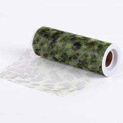 Cheetah Apple Green Animal Printed Tulle Roll ( W: 6 inch | L: 10 Yards )